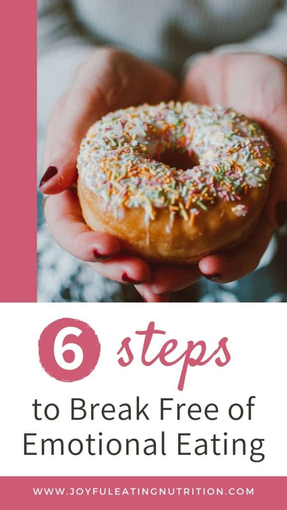 donut with bite taken out overlaid with text, 6 steps to break free of emotional eating
