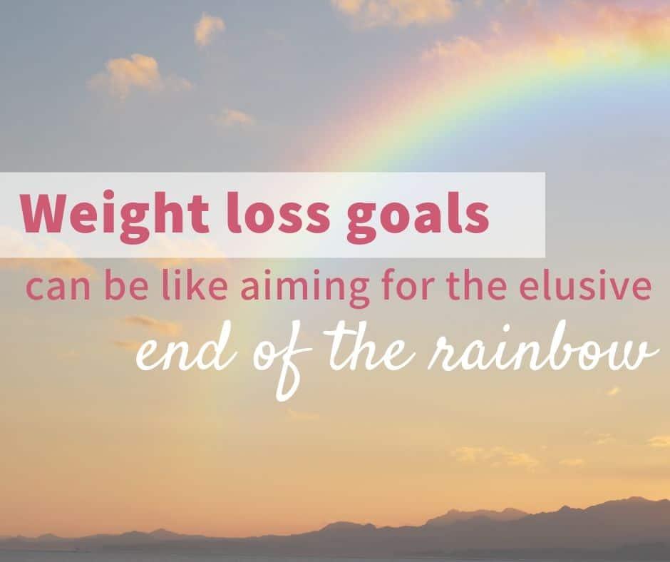 Rainbow with overlaid text