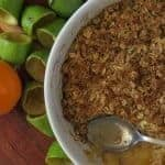 Dish with feijoa crumble and an individual serving bowl to the side