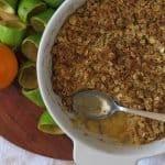 Feijoa crumble with recipe name overlaid