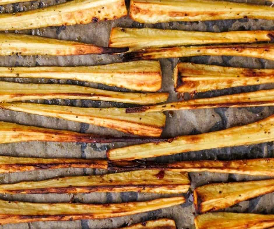 overhead tray of maple roasted parsnips