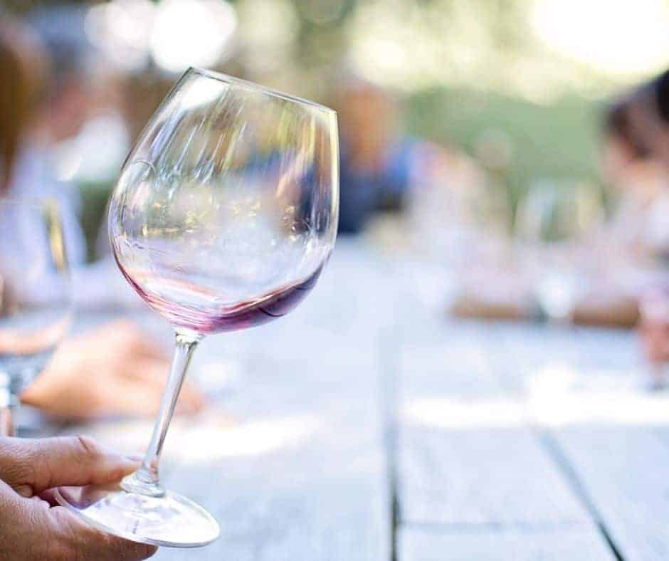 Glass of wine with blury background