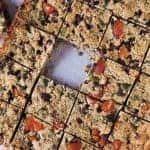 Overhead image of sliced Vegan 'Muesli' Slice