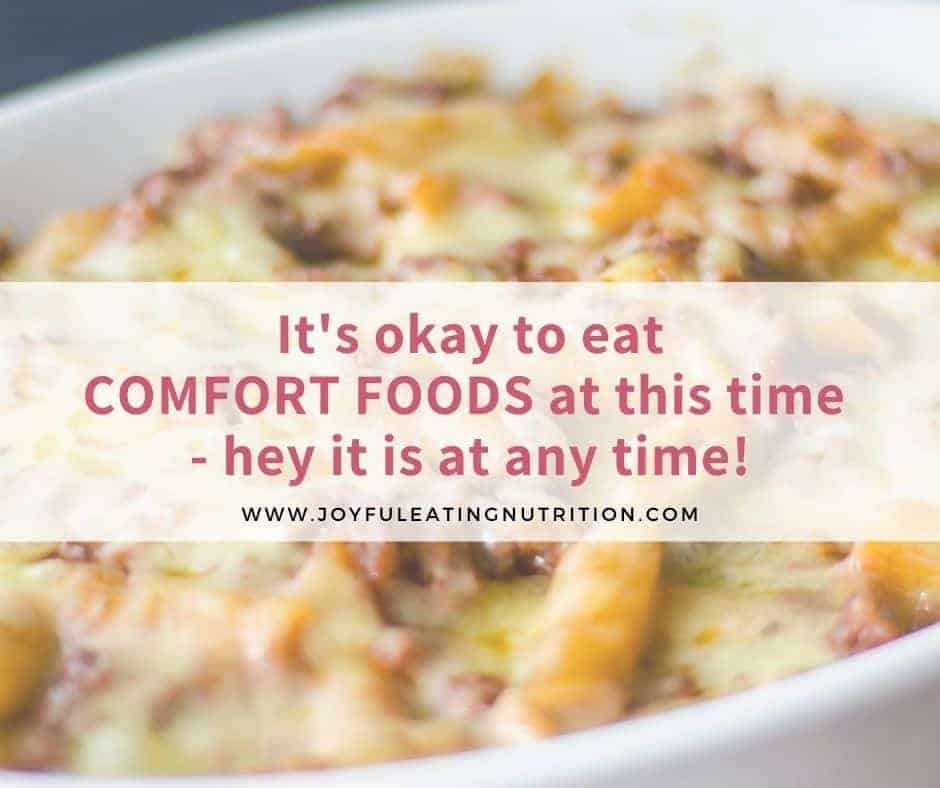Mac and cheese with text: it's okay to eat comfort foods
