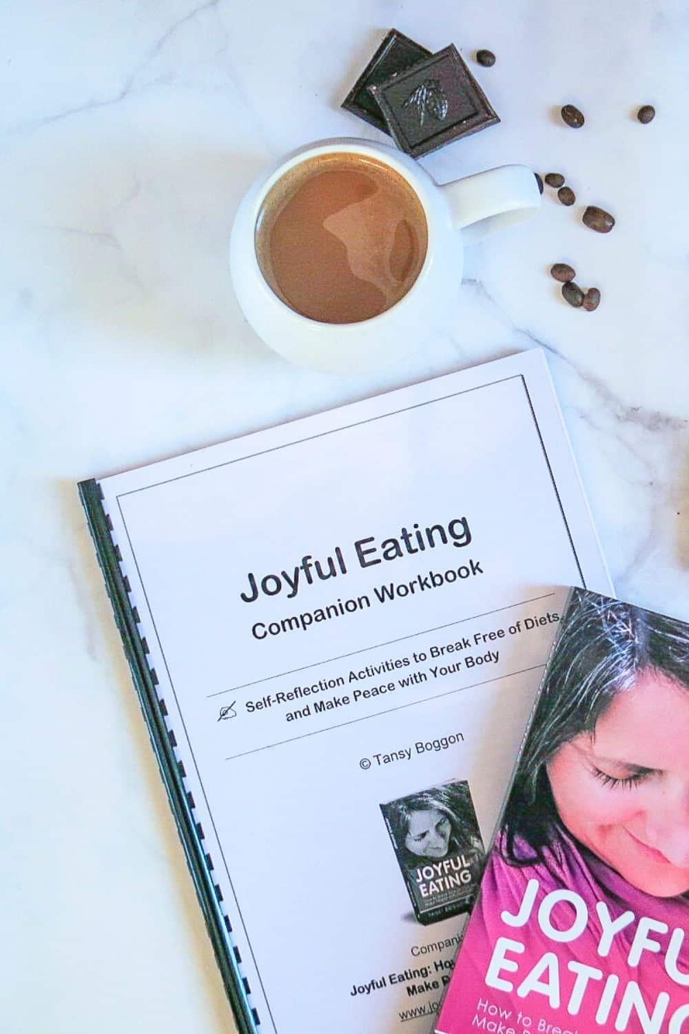 Joyful Eating Companion Workbook with coffee and chocolate