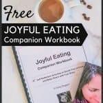 Joyful Eating Companion Workbook with coffee and chocolate