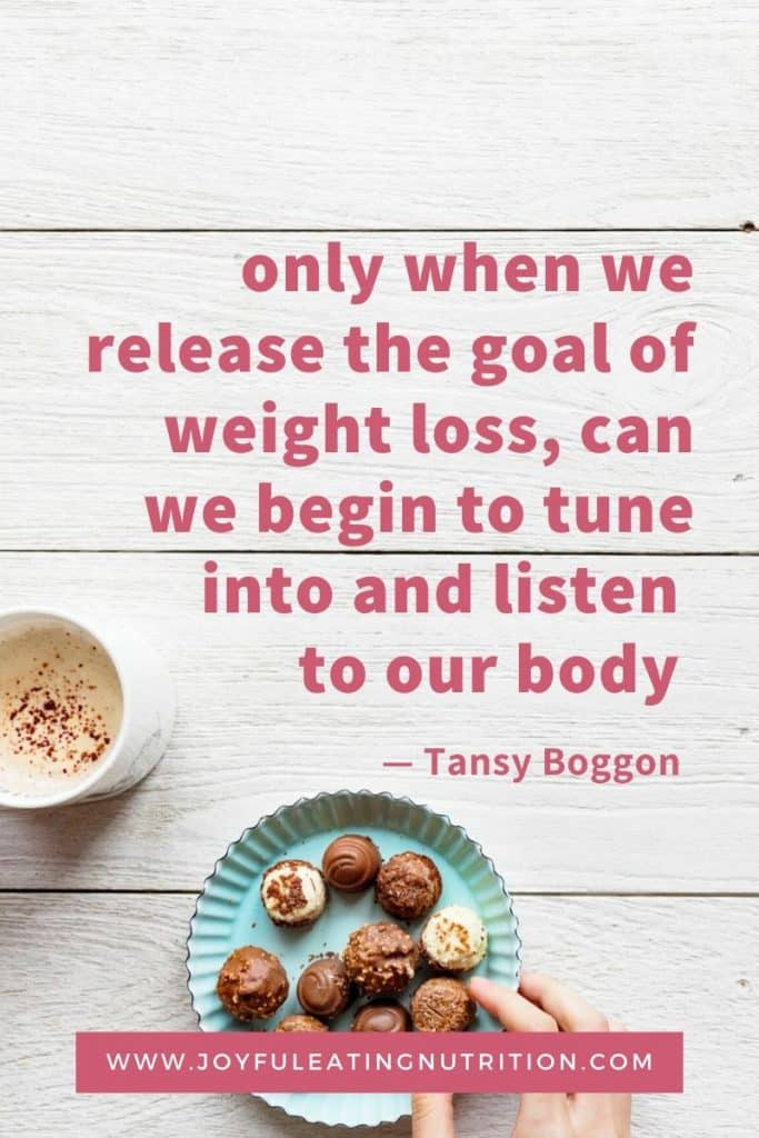 Release the goal of weight loss