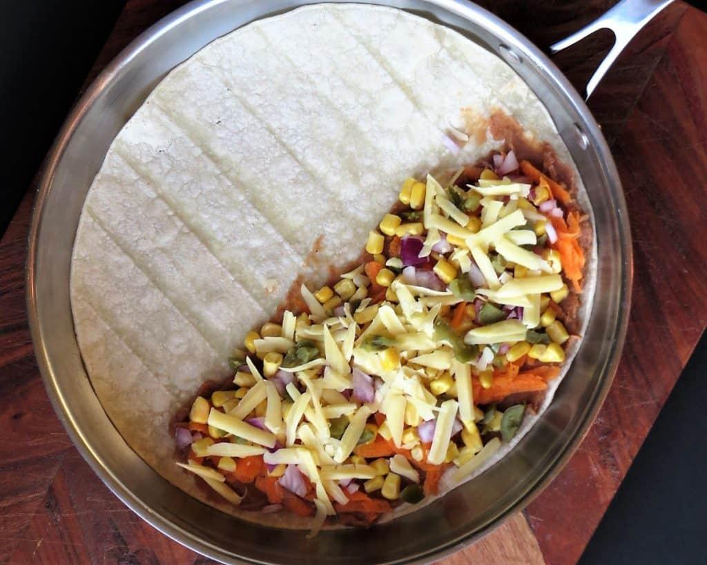 Easy Vegetarian Quesadilla Prep in Frying Pan