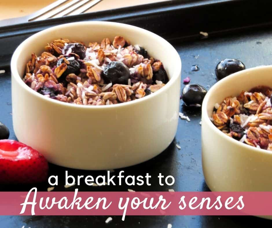 Berry baked oatmeal with text: a breakfast to awaken your senses