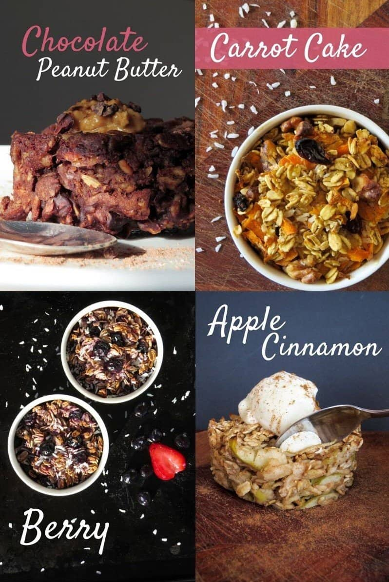 Baked Oatmeal 4 Ways Collage with Flavour Titles