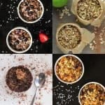 Collage of four different flavours of baked oatmeal
