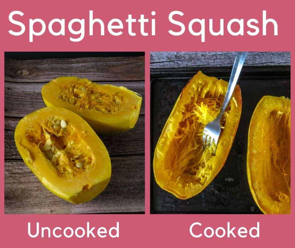 uncooked and cooked spaghetti squash side by side with text labels
