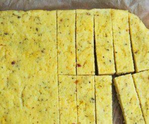 slab of polenta sliced before cooking