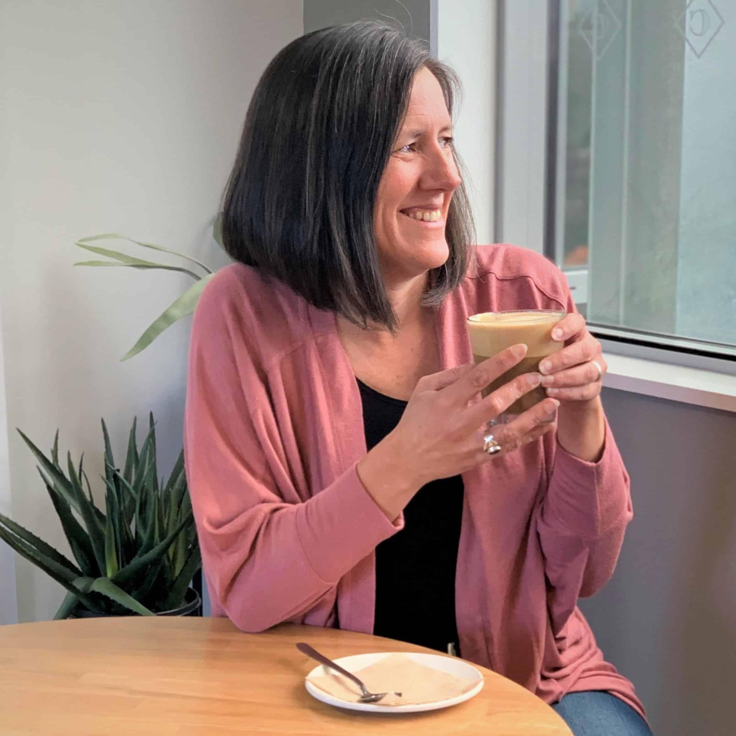 Tansy Boggon drinking cofee